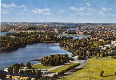 Featured is a postcard aerial view of Stockholm, Sweden c 1960s.  The original unused card is for sale in The unltd.com Store.